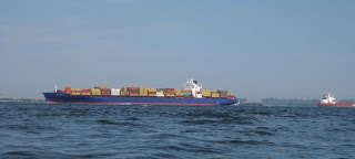 Container Ship Approaching Narrows.