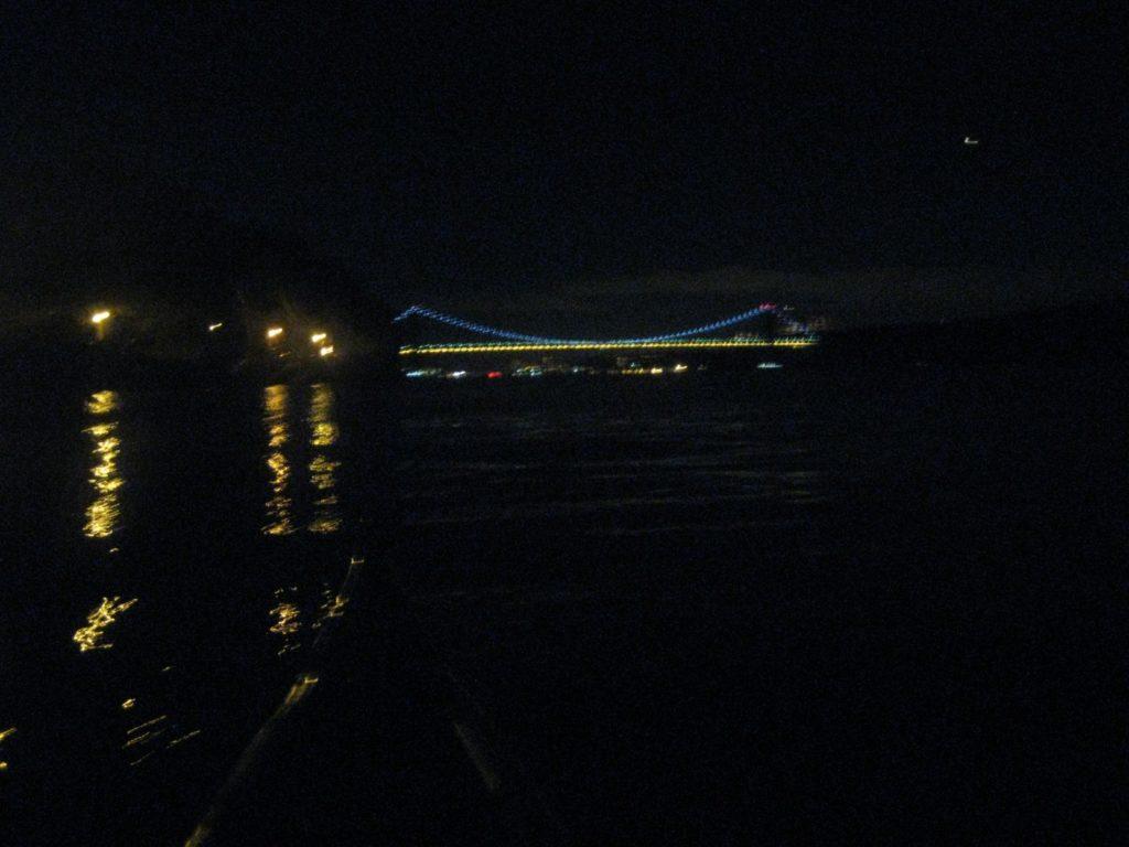 George Washington Bridge at night.